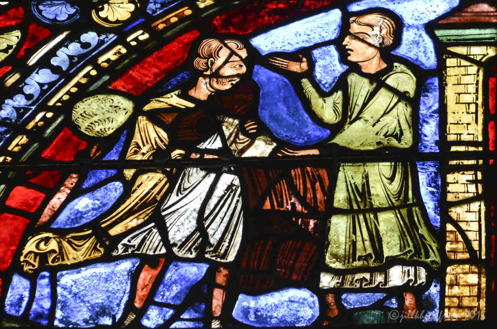 Father welcomes the prodigal son home at Chartres Cathedral by photographer Jill K H Geoffrion