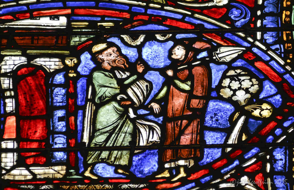 Older son and father discuss the situation, Prodigal window at Chartres Cathedral by photographer Jill K H Geoffrion