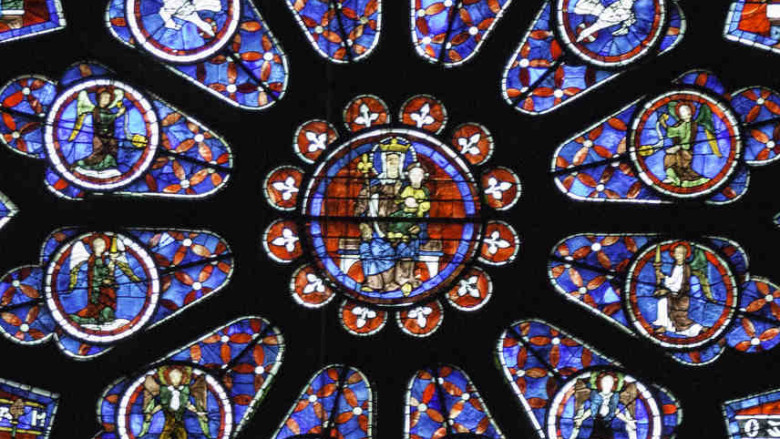 Center of South Rose Window, 13th century at Chartres Cathedral by photographer Jill K H Geoffrion