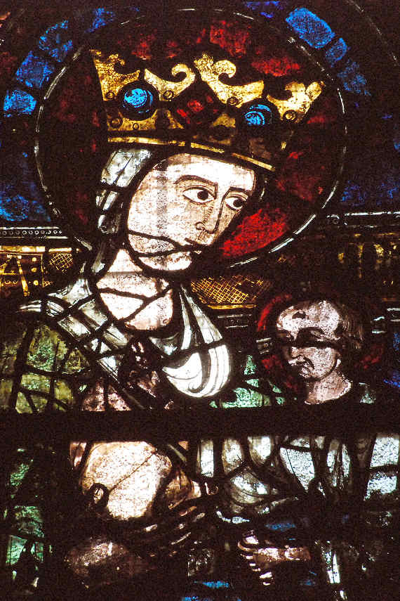 Mary offering her breast to Jesus, Clerestory window in the south nave by Jill Geoffrion