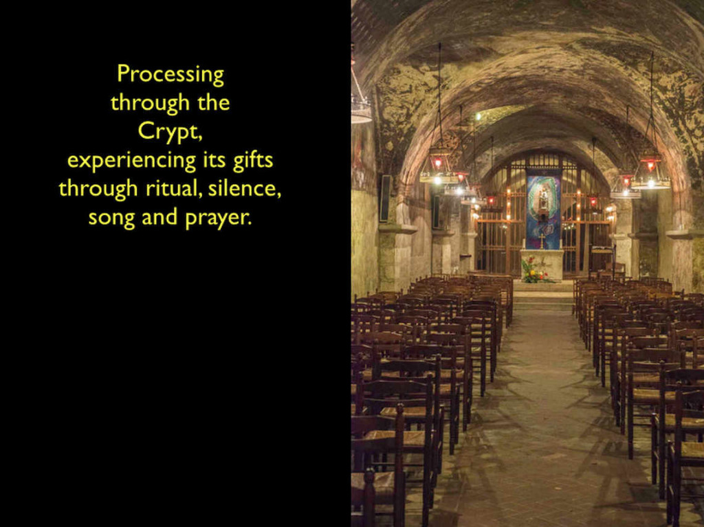 The north gallery of the Chartres Cathedral crypt by photographer Jill K H Geoffrion