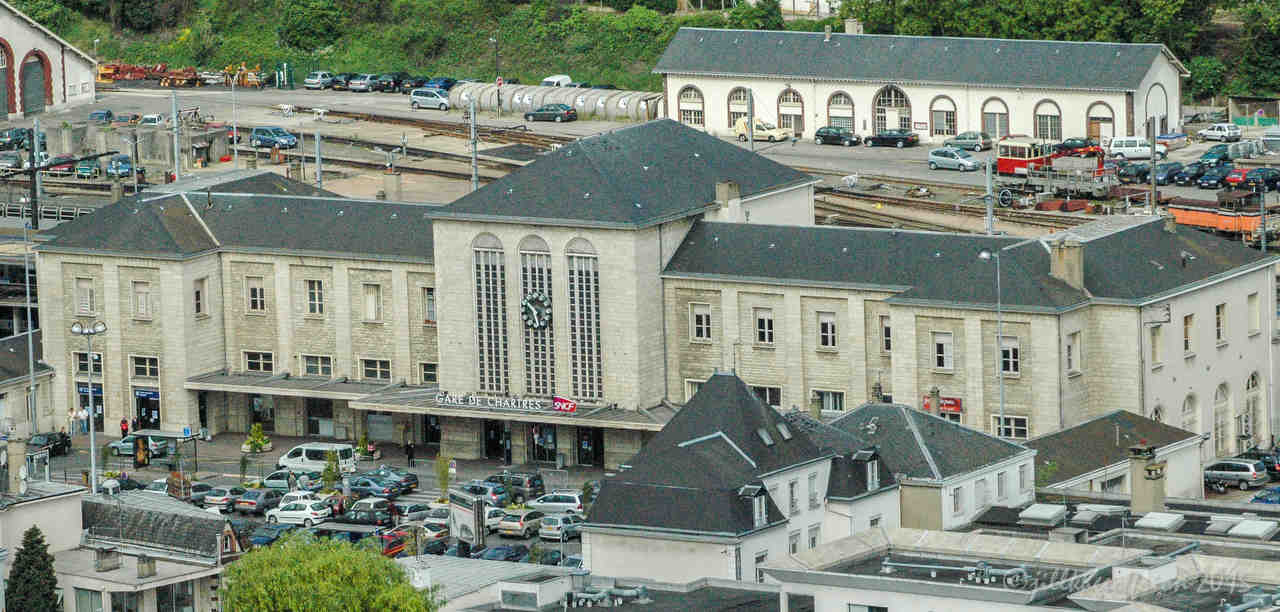 Train Station in Chartres from above by photographer Jill K H Geoffrion