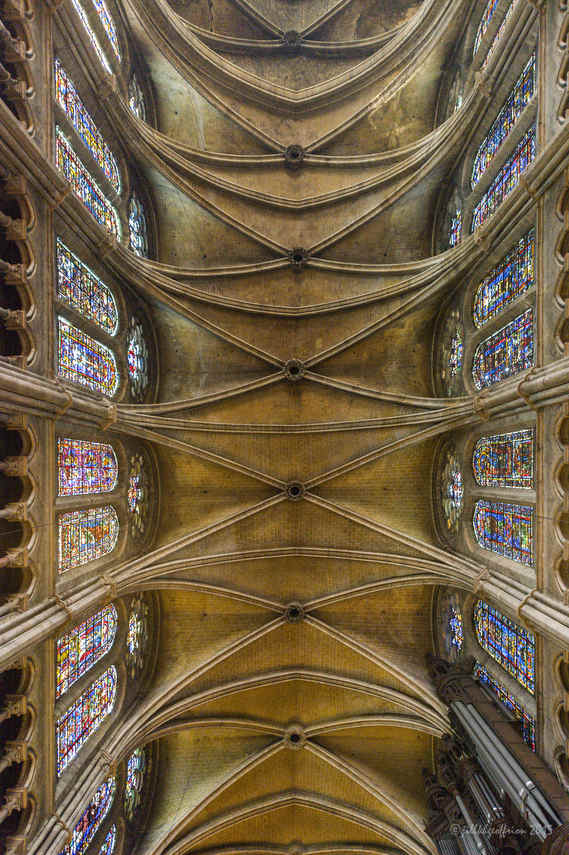Ceiling and windows above the naveat Chartres Cathedral by Jill K H Geoffrion, photographer