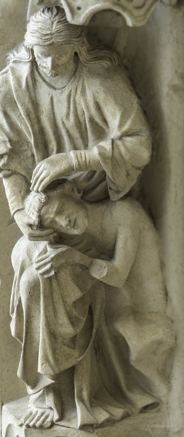 God creating Adam at Chartres Cathedral by photographer Jill K H Geoffrion
