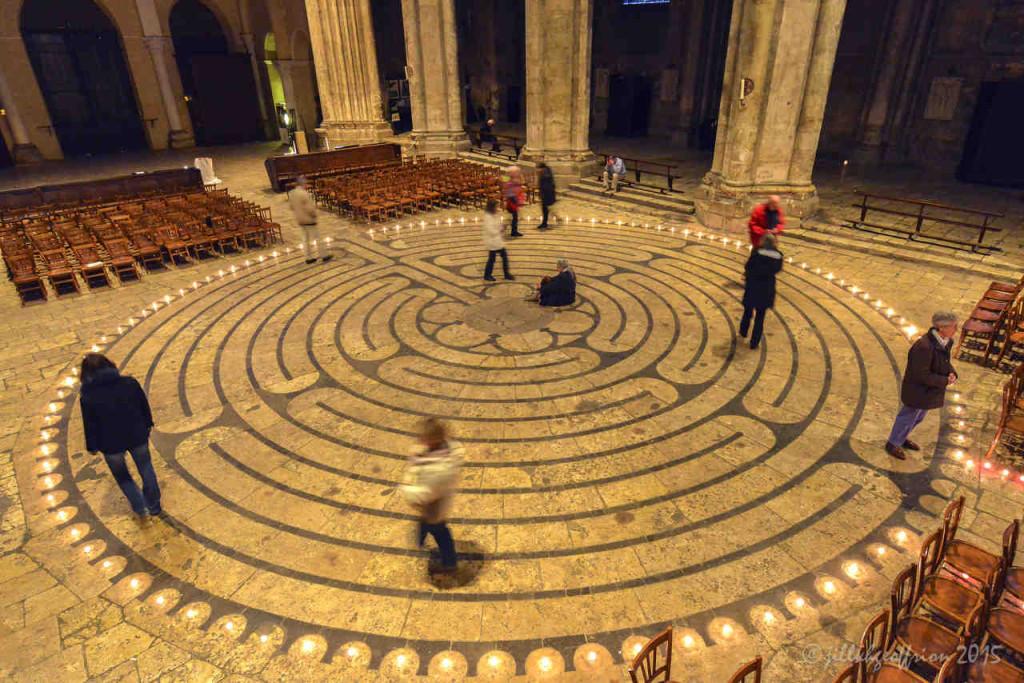 Group labyrinth walk at night by Jill K H Geoffrion