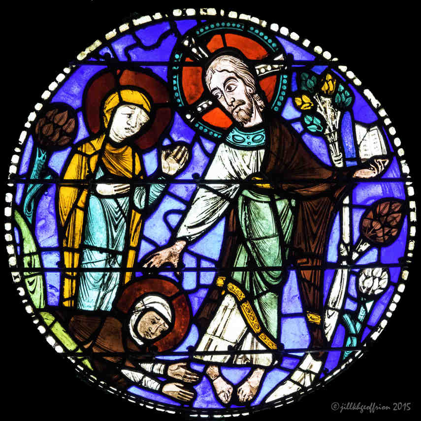 Mary with the resurrected Christ in the Passion and Resurrection Windowat Chartres Cathedral by photographer Jill K H Geoffrion