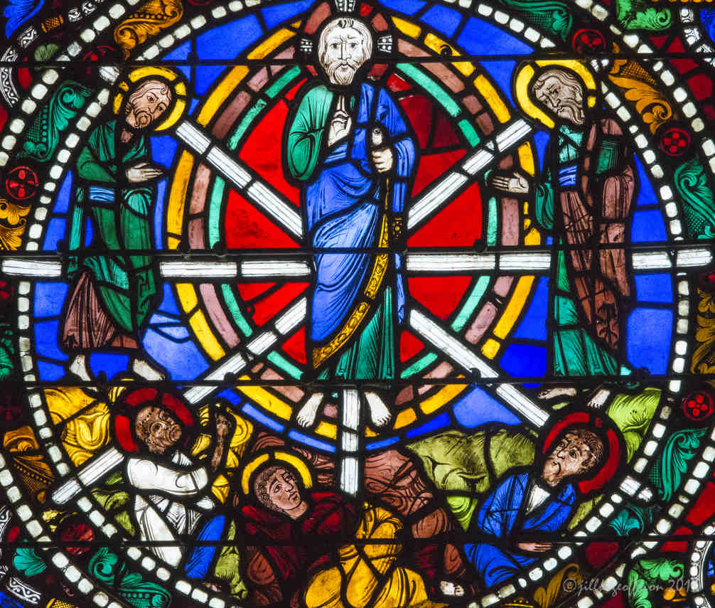 The Transfiguration in the Passion and Resurrection Window at Chartres Cathedral by photographer Jill K H Geoffrion