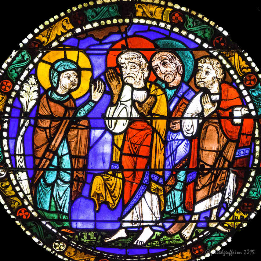 Mary telling the disciples about Jesus'resurrection in the Passion and Resurrection Window at Chartres Cathedral by photographer Jill K H Geoffrion