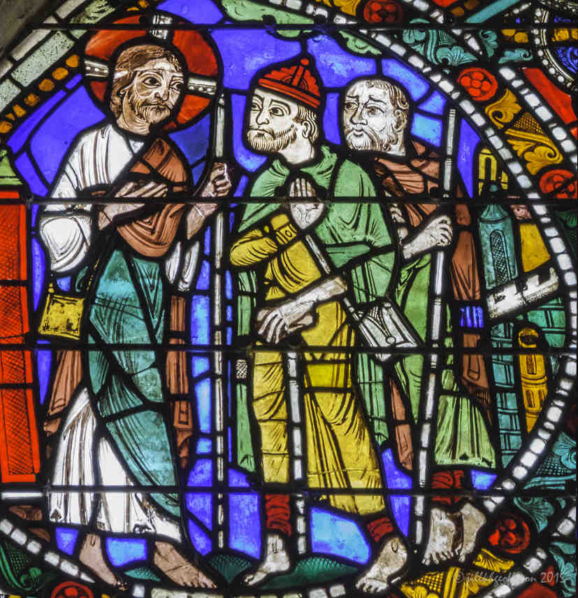 Jesus walking on the road to Emmaus in the Passion and Resurrection Window at Chartres Cathedral by photographer Jill K H Geoffrion