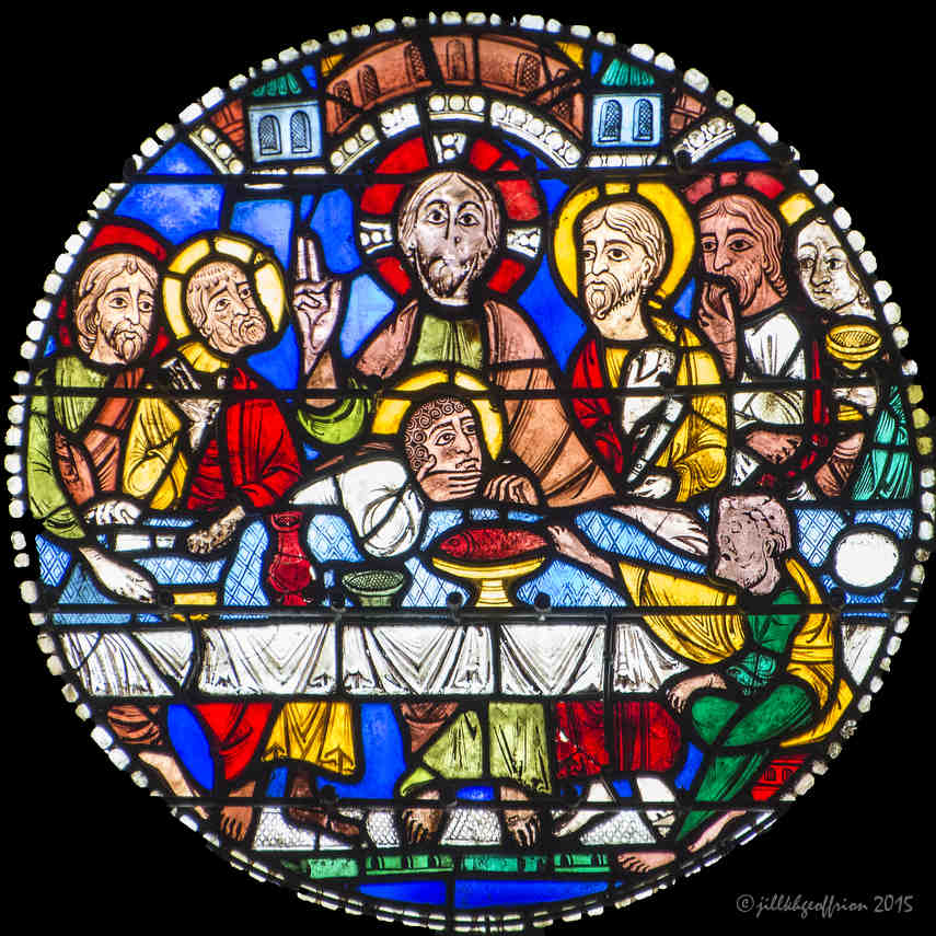 The Last Supper in the Passion and Resurrection Window at Chartres Cathedral by photographer Jill K H Geoffrion