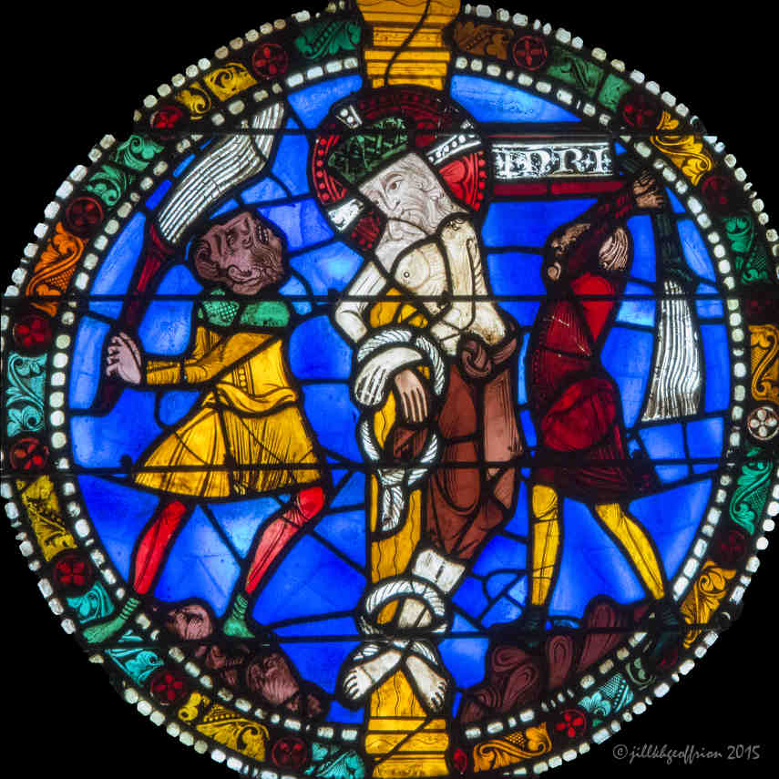 The whipping of Jesus in the Passion and Resurrection Window at Chartres Cathedral by photographer Jill K H Geoffrion