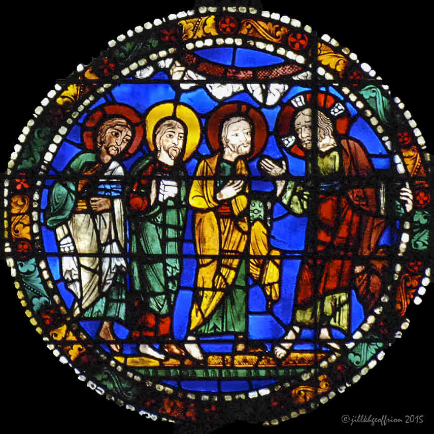 Jesus announces his passion in the Passion and Resurrection Windowat Chartres Cathedral by photographer Jill K H Geoffrion