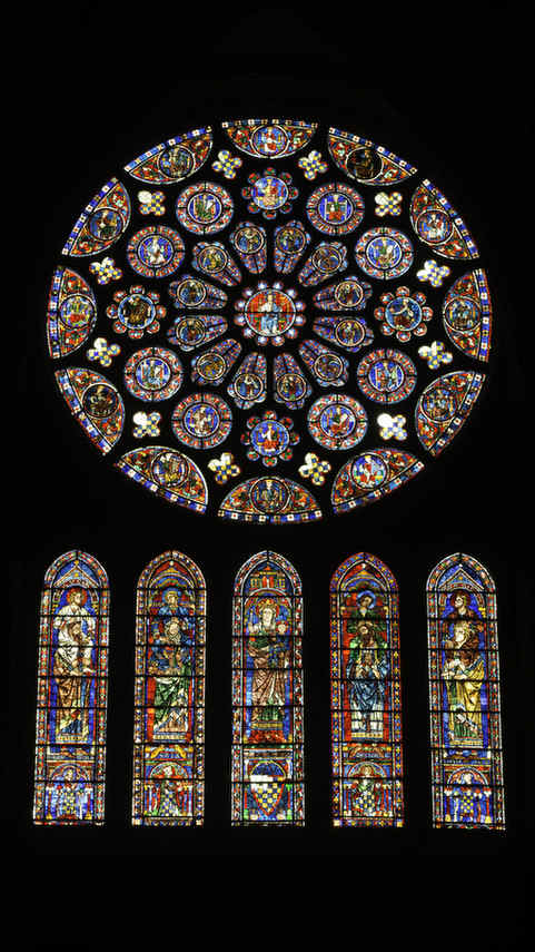 South rose and lancet windows at Chartres Cathedral by Jill K H Geoffrion, photographer