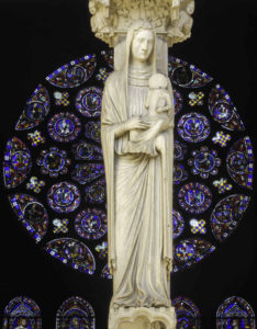 South Rose behind Anne and Mary at Chartres Cathedral in France by Jill K H Geoffrion