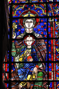 East window of the Apse, Mary and Jesus, Chartres Cathedral, France by Jill K H Geoffrion