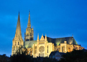 Nighttime Chartres Cathedral, France by Jill K H Geoffrion
