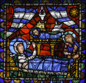 12th century image of the nativity by Jill Geoffrion, Chartres Cathedral, France