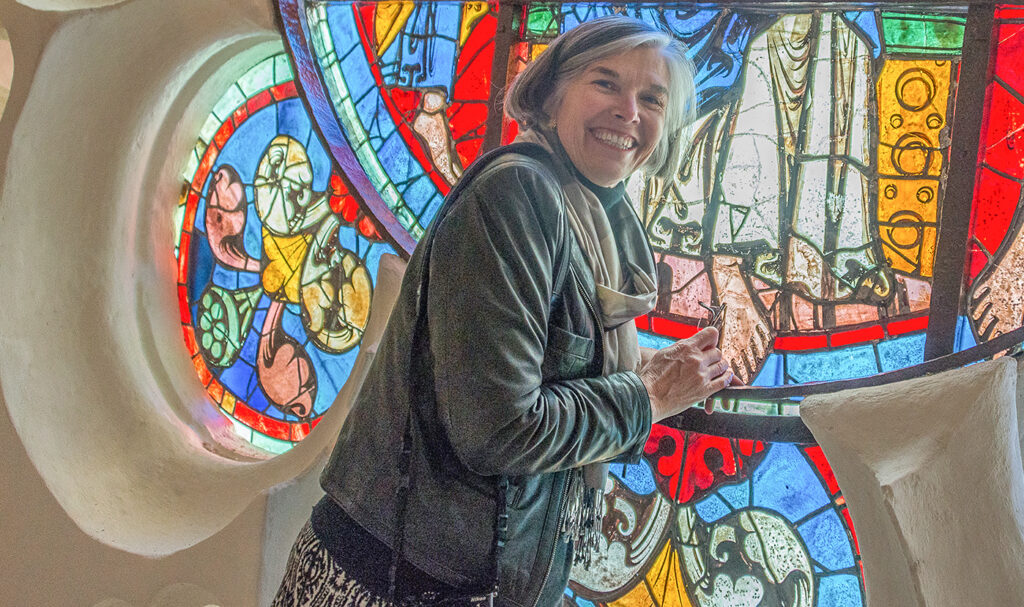 Jill with Stained Glass Window at Chartres Cathedral