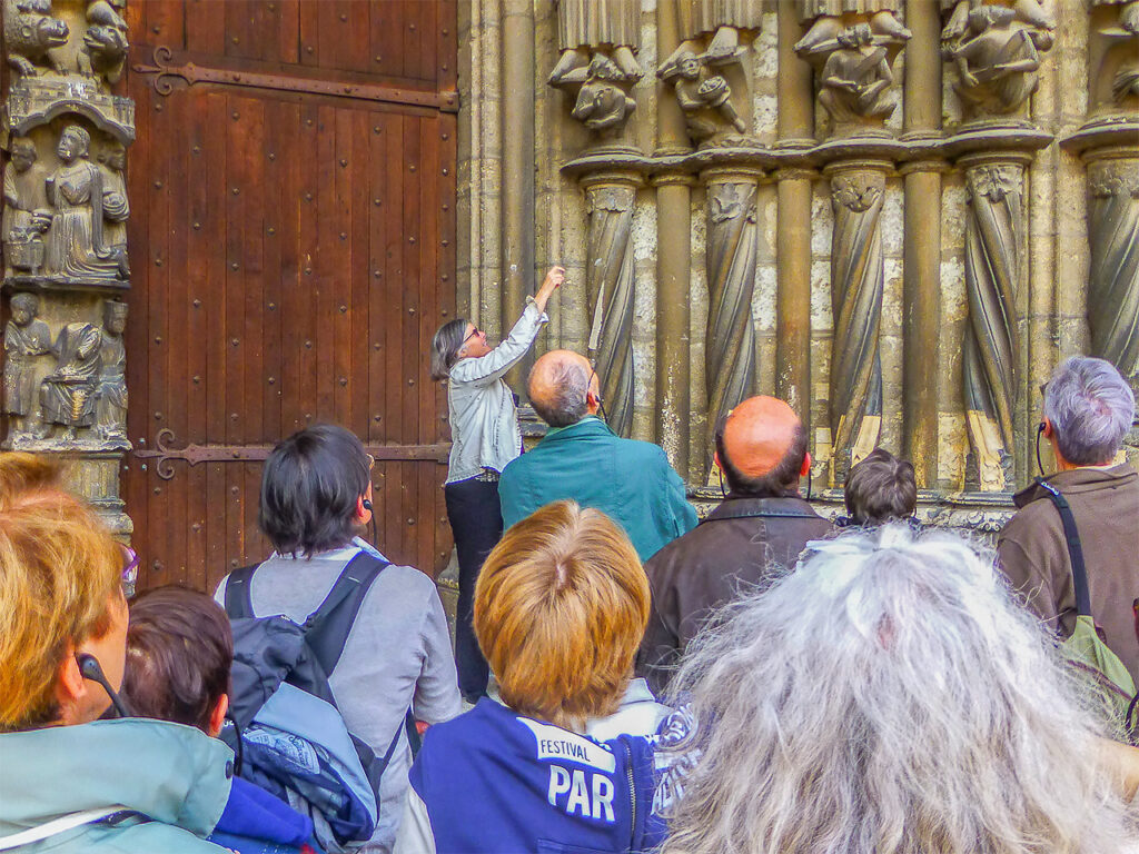 Jill Geoffrion guiding on the south porch of Chartres Cathedral
