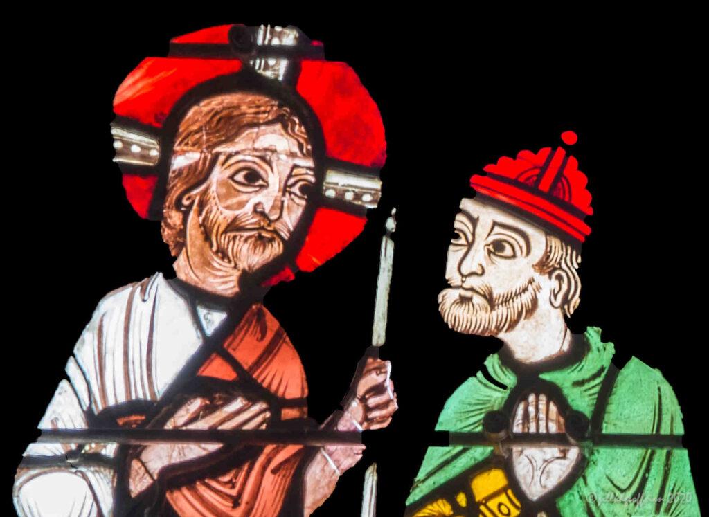 Jesus walking with pilgrim to Emmaus by Jill K H Geoffrion