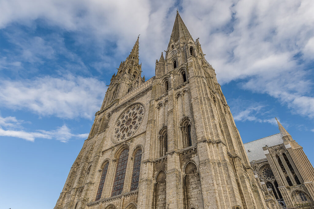 Chartres Cathedral with dusting of snow by photographer Jill K H Geoffrion