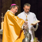 Bishop blessing the oils, Chartres Cathedral by Jill Geoffrion