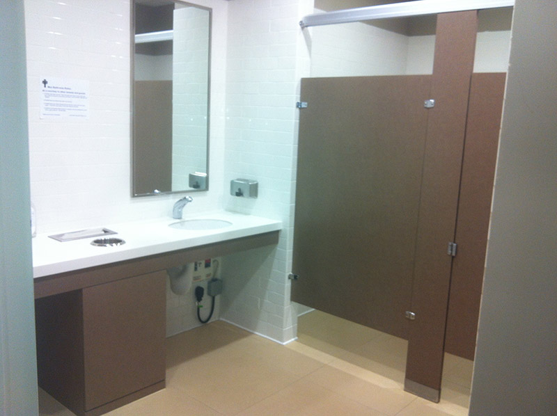 Commercial office building toilet partitions