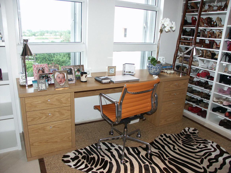 Custom desk in closet