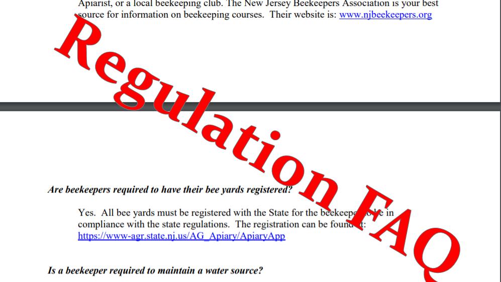 A sample of NJBA regulation FAQ