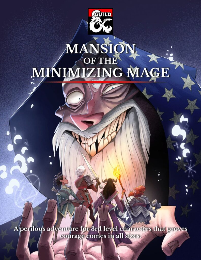 """Link to purchase the 5e adventure """"Mansion of the Minimizing Mage"""" of Dungeon Masters Guild dot com."""