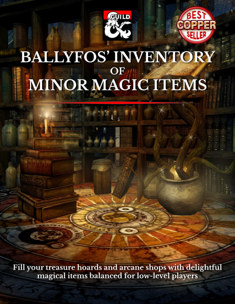"""Link to purchase the 5e supplement """"Ballyfos' Inventory of Minor Magic Items"""" Dungeon Masters Guild dot com."""