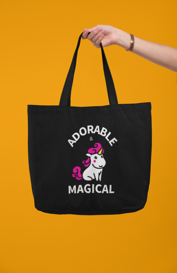 Adorable and Magical Tote Bag in Black with Dark Yellow Background