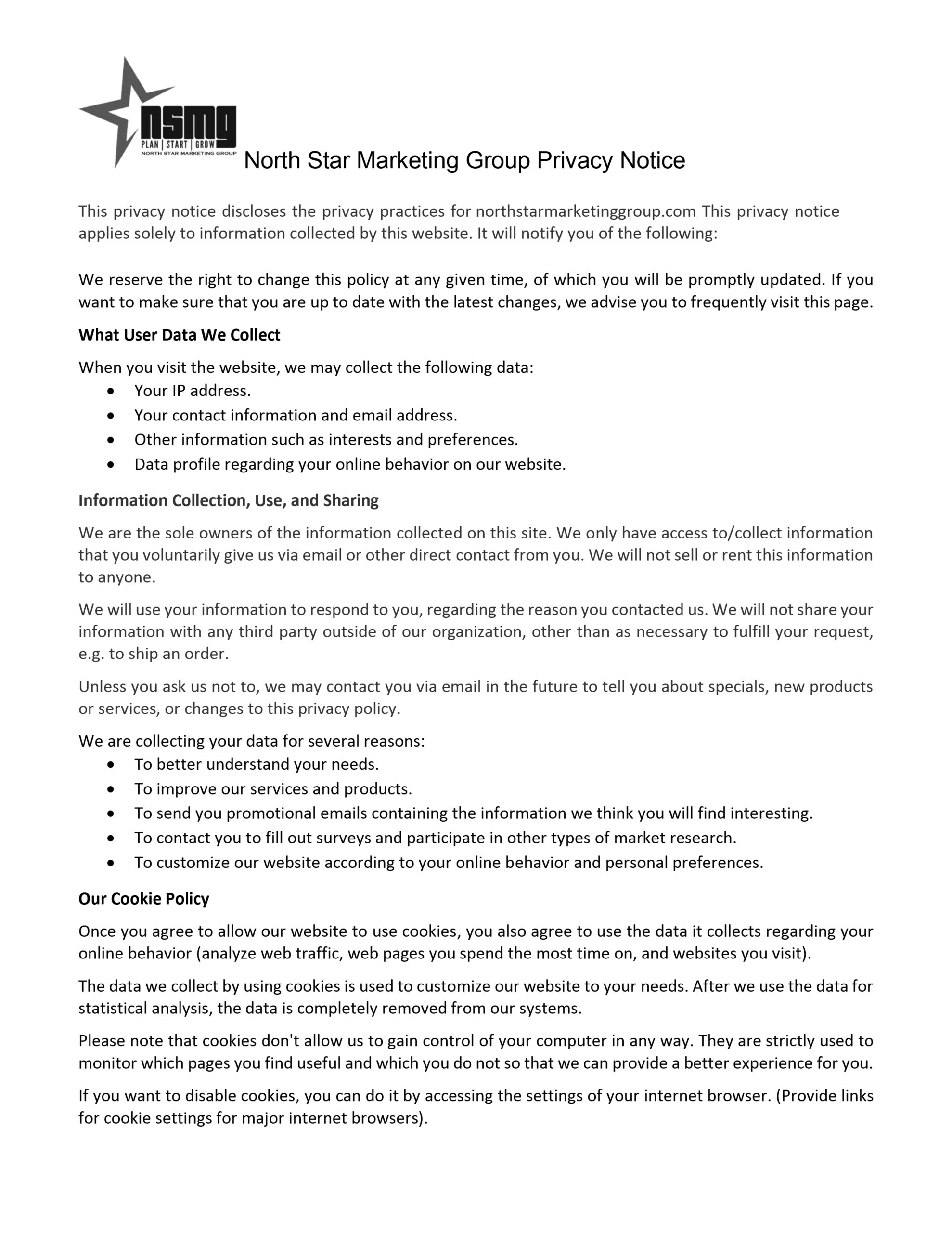 NSMG Privacy Policy page 1