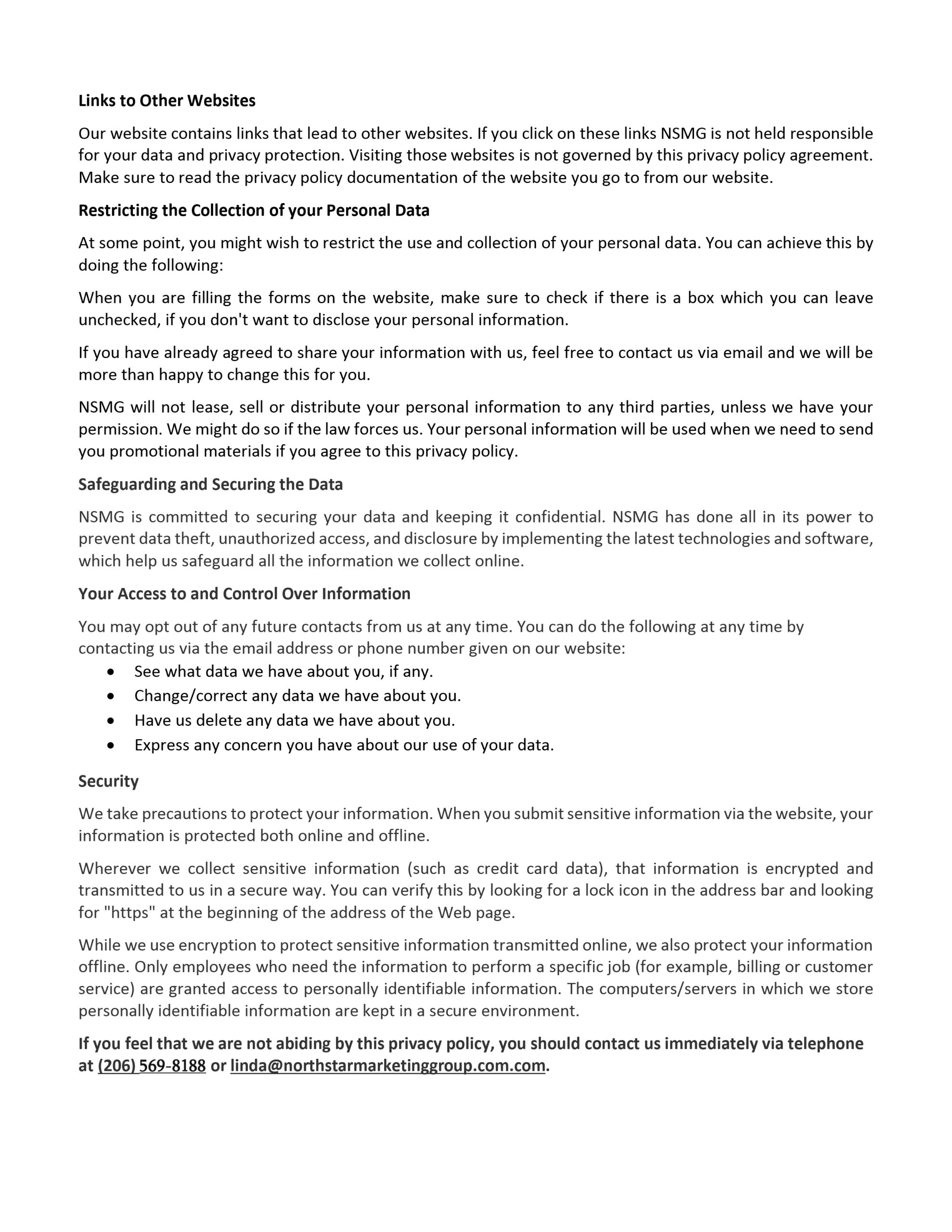 NSMG Privacy Policy page 2