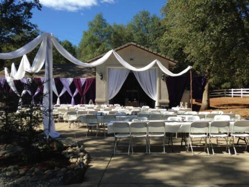 Backyard Purple and White Wedding