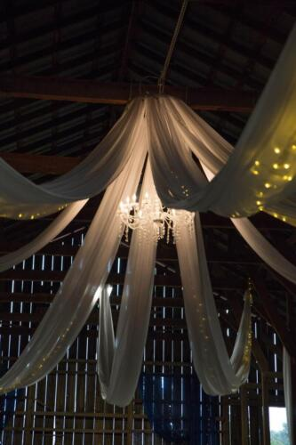 Barn Chandelier and fairy lights