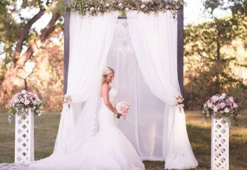 Wood Arch with White draping