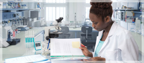 scientist, medical worker or tech in modern laboratory - HEALTHCARE INDUSTRY COMPLIANCE AND QUALITY CONSULTING