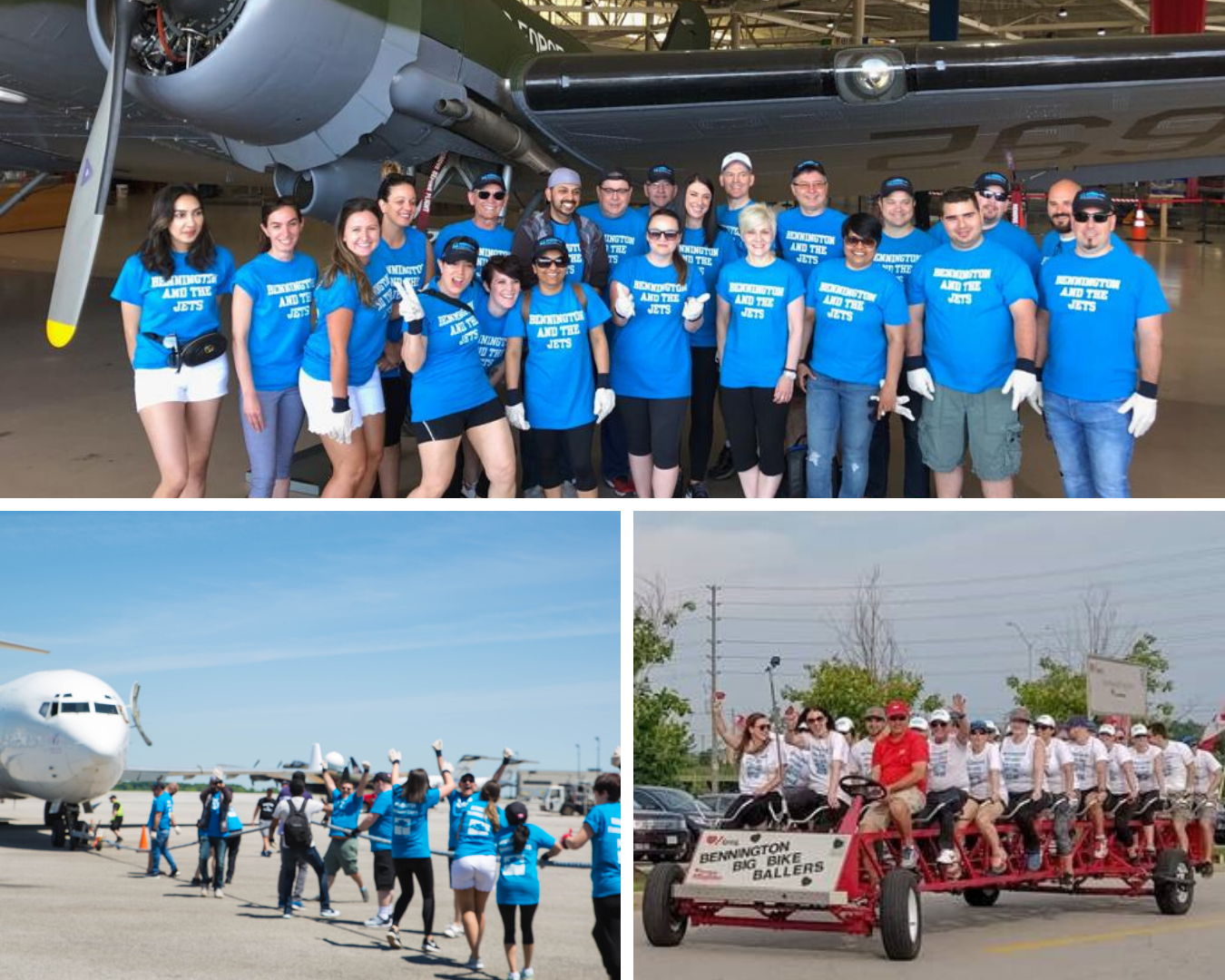 Three pictures: | Top | Bennington and the Jets team members pose with a plane behind them at the John C. Munro Hamilton International Airport prior to pulling a plane in support of McMaster Children's Hospital. | Bottom, left | The team that just pulled a plane are on the tarmac with one hand on the rope and the other arm up in celebration of their feat. That plane was heavy! | Bottom, right | All aboard! Thirty Bennington team members are packed on to a giant red bike, smiling and waving to the camera. This ride was in support of the Heart and Stroke's Big Bike Race.