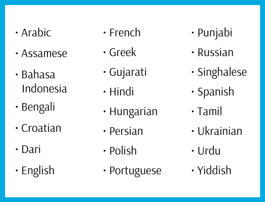 Arabic   Assamese   Bahasa Indonesia   Bengali   Croatian   Dari   English   French   Greek   Gujarati   Hindi   Hungarian   Persian   Polish   Portuguese   Punjabi   Russian   Singhalese   Spanish   Tamil   Ukranian   Urdu   Yiddish