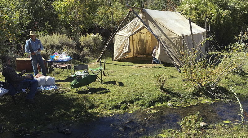 Wall tent in camp