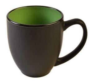 Bistro Matte black with lime green 15oz #1376M