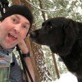 friendly hiking dog