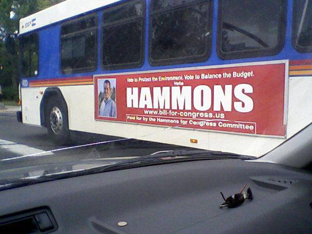Bus Ad from Bill Hammons' First Run for Office, for US Congress Out of Colorado's 2nd Congressional District In 2008 Against Jared Polis
