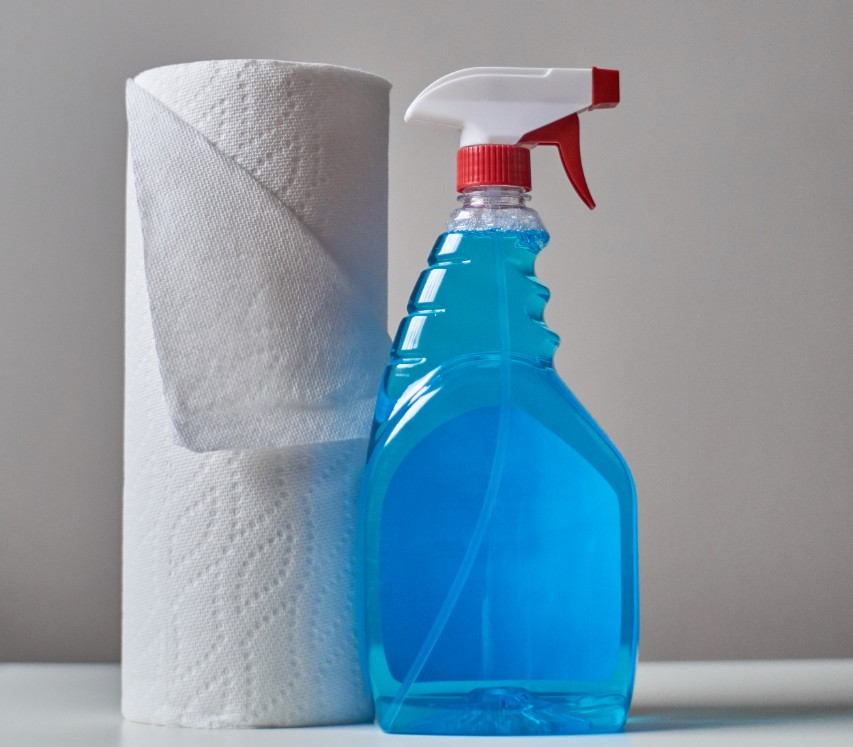 Image of paper towels and disinfectant. Good strategies for the coronavirus or again the flu and colds.