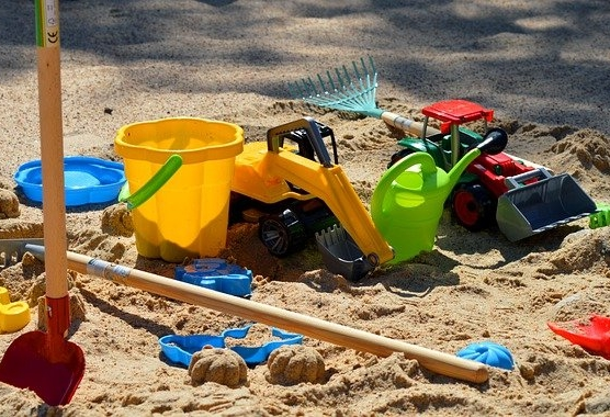 Sand toys in a sand box