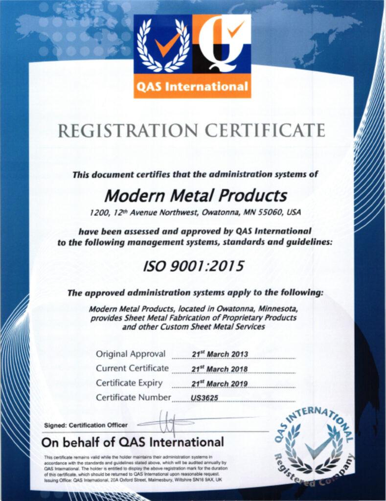 QAS International Certificate