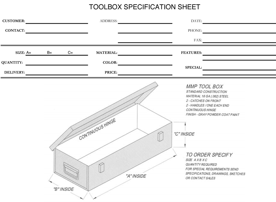 Toolbox specification image
