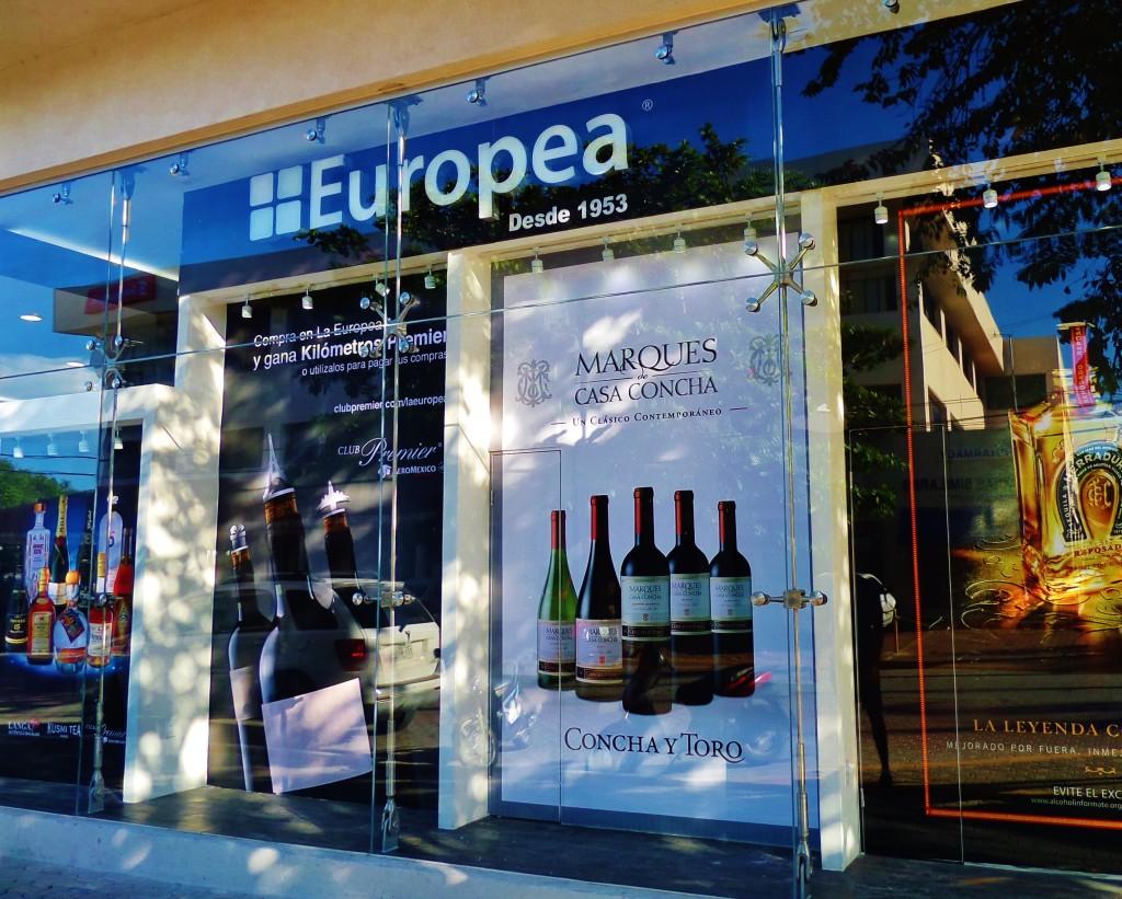 wine shop, playa del carmen, europea