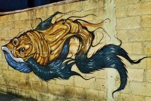 street mural of fish